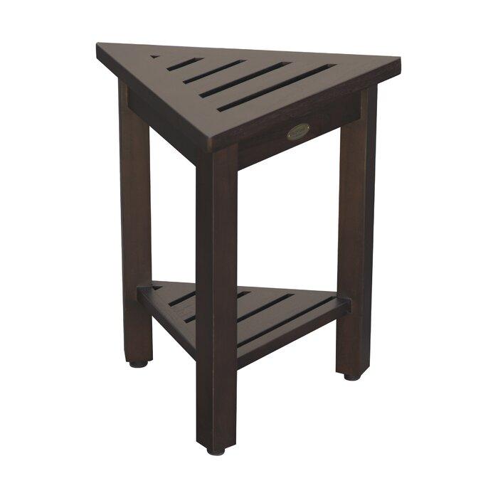Decoteak FlexiCorner Triangle Shower Bench with Shelf | Wayfair.ca