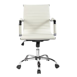 Superb Ivory Leather Desk Chair | Wayfair