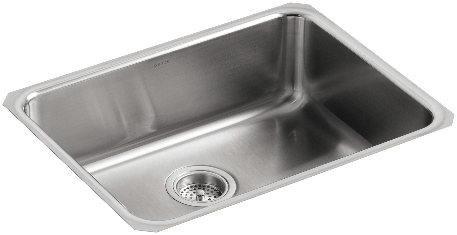 K 3332 Na Kohler Undertone 23 L X 17 1 2 W 7 5 8 Extra Large Squared Under Mount Single Bowl Kitchen Sink Wayfair
