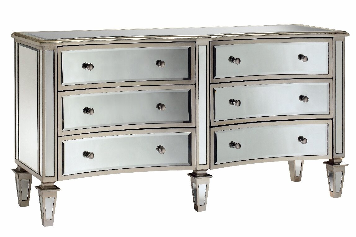 stein world fair haven bow front 6 drawer mirrored chest reviews. Black Bedroom Furniture Sets. Home Design Ideas