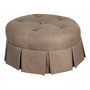 ava round pleated upholstered ottoman - Upholstered Ottoman