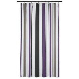 Extra Long Shower Curtain 72 X 78 Inch Gamma Purple And Grey Stripes Fabric