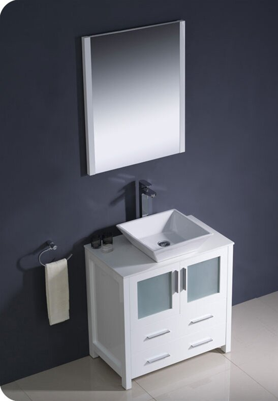 Fresca torino 30 single modern bathroom vanity set with for Levi 29 5 single modern bathroom vanity set