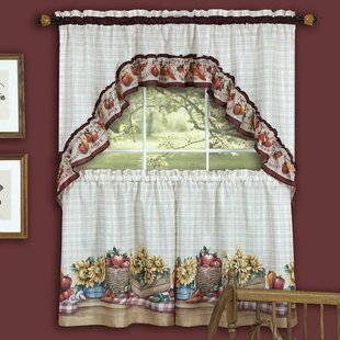 Cadia Traditional Elegance Farmhouse 2 Piece Kitchen Curtain Set