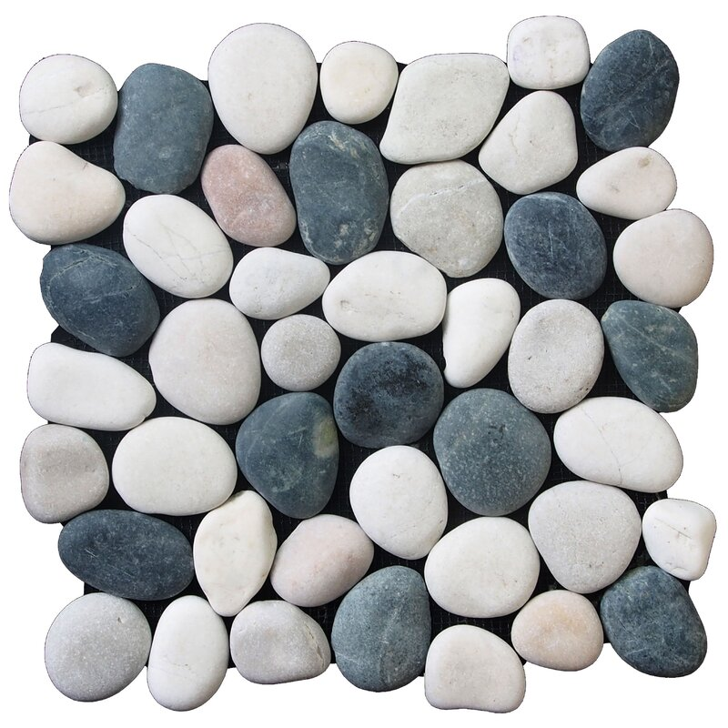 Clic Pebble Random Sized Natural Stone Tile In Black White