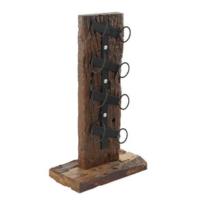 Bernadette Rustic Teak Wood and Iron 4-Bottle Tabletop Wine Bottle Rack by Loon Peak