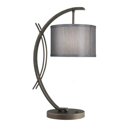 Brayden Studio Hulse 21.75 Drum Arched Table Lamp Shade Color: Grey, Base Finish: Satin Nickel