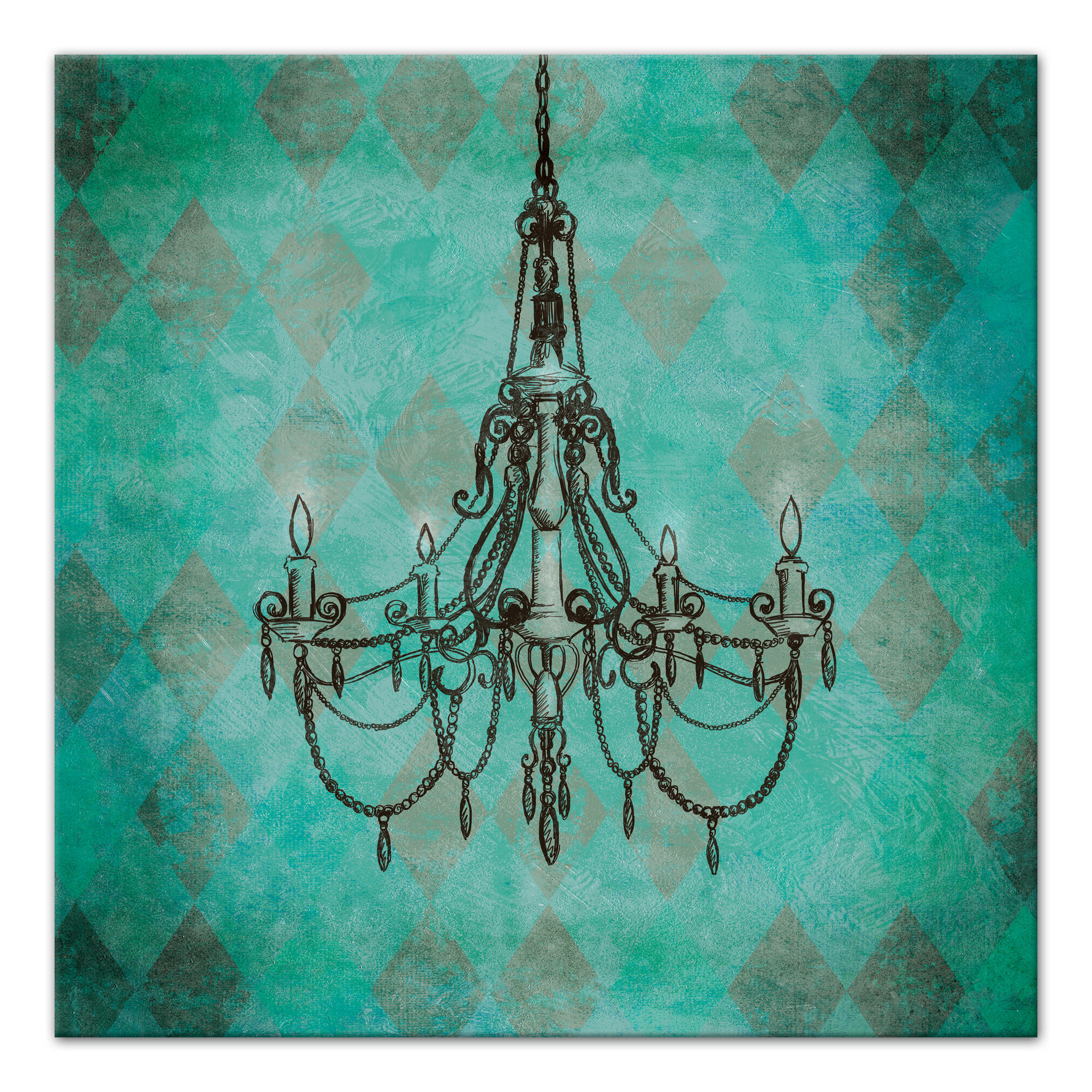 Rosdorf Park Teal Chandelier Graphic Art Print on Wrapped Canvas