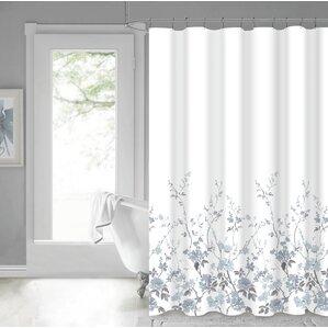 Eugen 100% Cotton Shower Curtain. Pink White