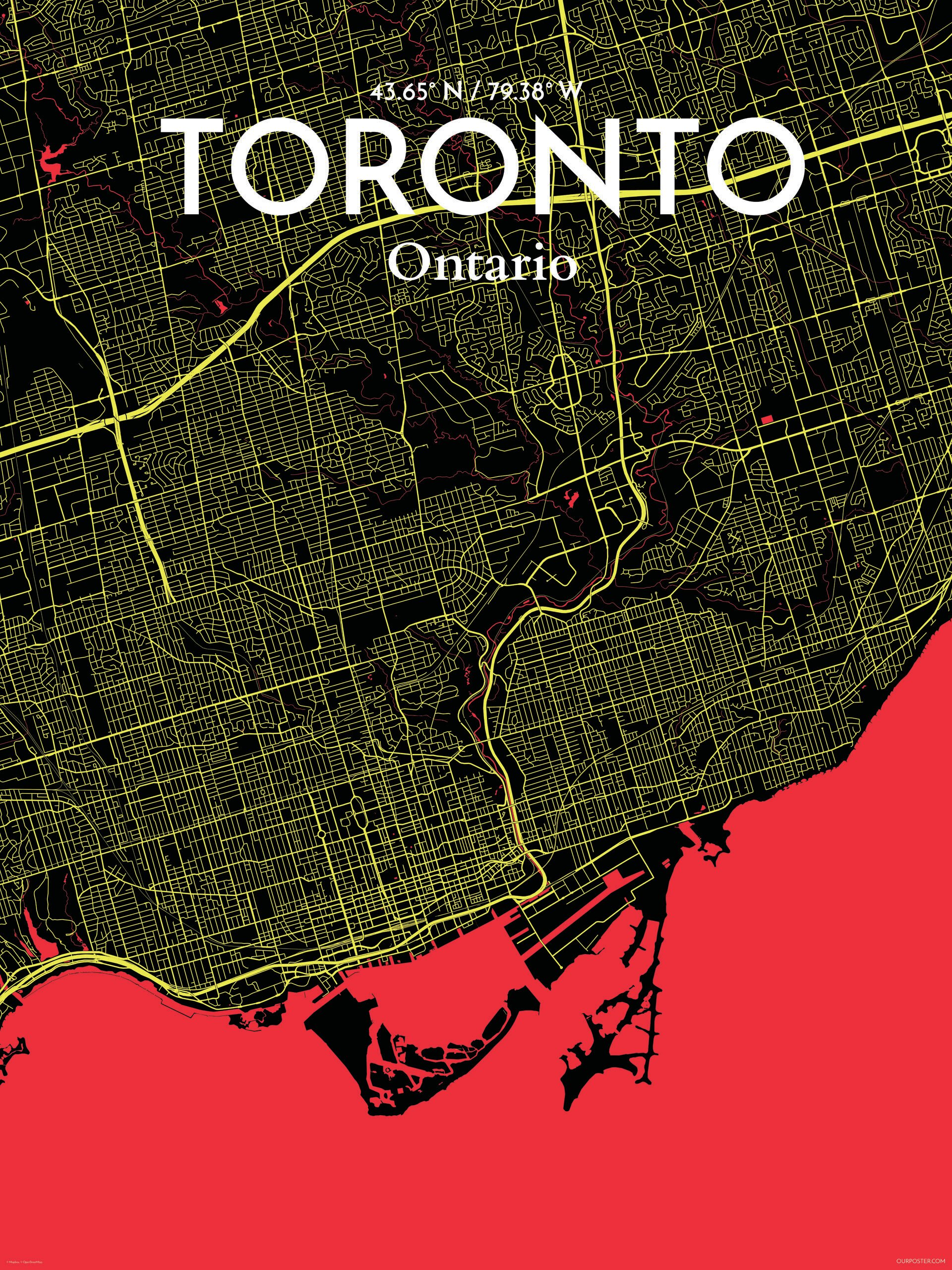 Ourposter toronto city map graphic art print poster in ourposter toronto city map graphic art print poster in contrast wayfair gumiabroncs Choice Image
