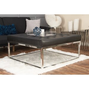 Stainless Steel and Leather Coffee Table by ..