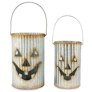 Galvanized Tin Pumpkin 3 Piece Luminary Set