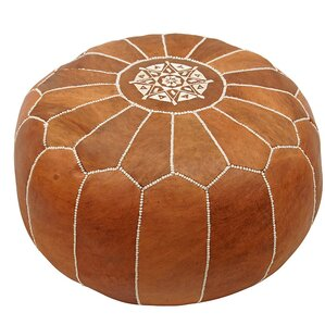 Cherise Round Pouf Leather Ottoman by Mistana