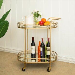 Horsforth Metal Mirrored Bar Cart