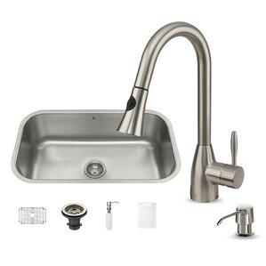 VIGO 30 inch Undermount Single Bowl 18 Gauge Stainless Steel Kitchen Sink with Aylesbury Stainless Steel Faucet, Grid, Str...