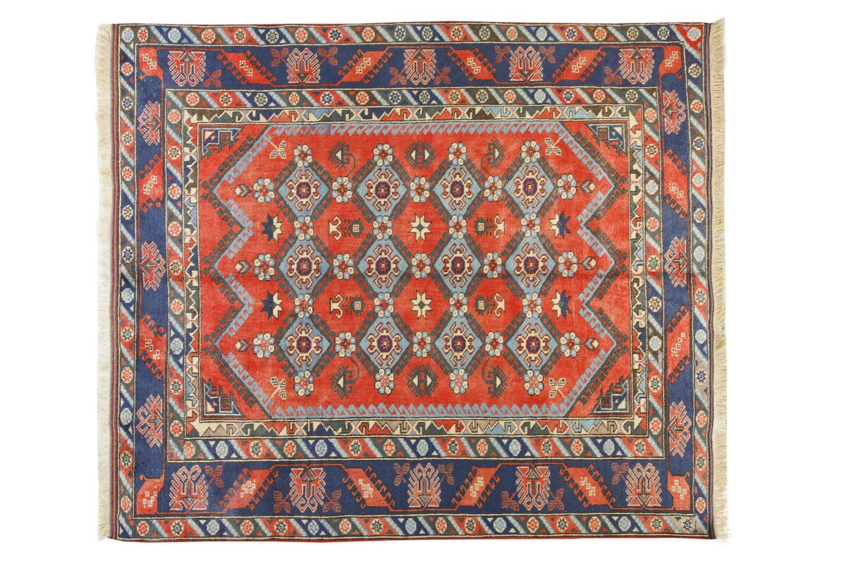 Kilim Obruk Hand Knotted Red Blue Area Rug