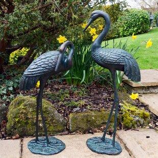 2 Piece Cranes Aluminium Statue Set