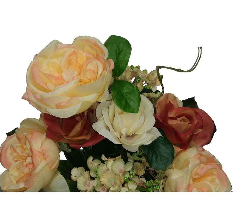 14 Stems Artificial Blooming Queen Rose and Hydrange Mix Flowers Bush