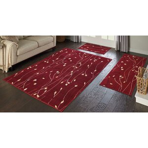 Trumbull 3 Piece Red Area Rug Set