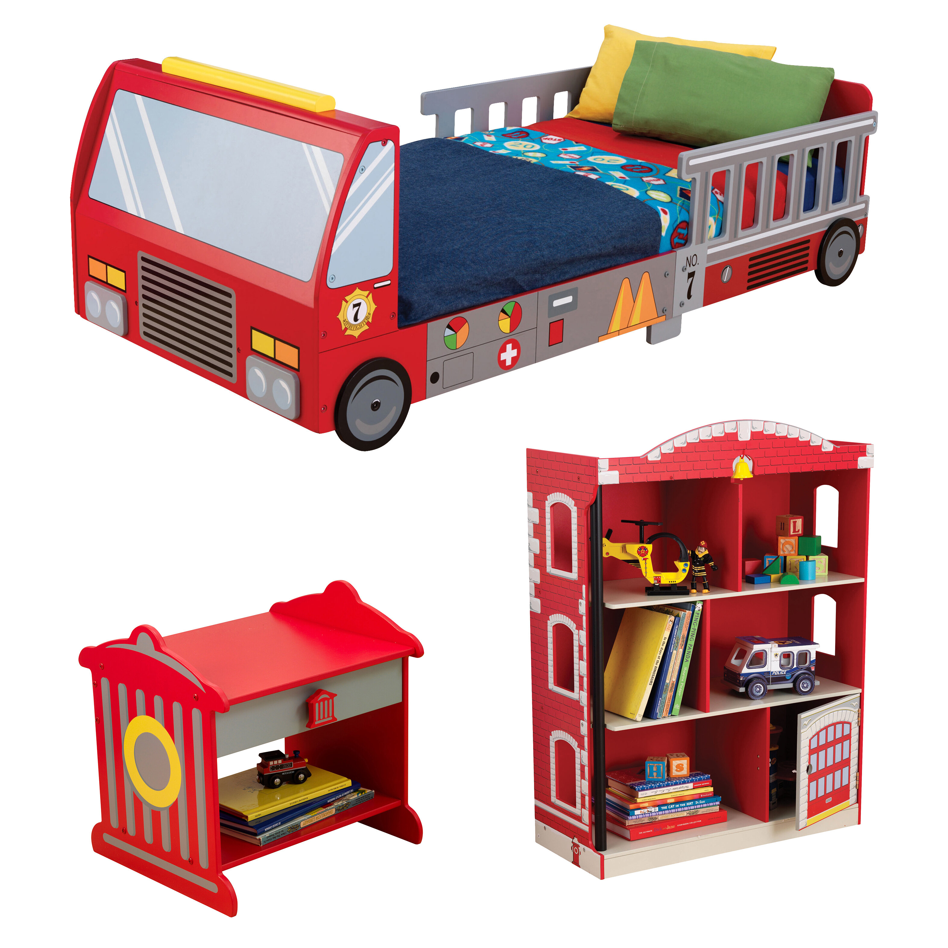 kidkraft firefighter toddler car configurable bedroom set reviews