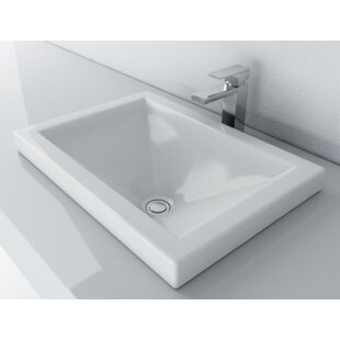 Vitreous China Rectangular Drop-In Bathroom Sink with Overflow