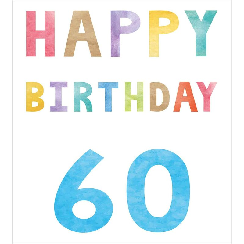 60th Birthday Decorations Vintage Party For Elder In Abstract Rainbow Print Duvet Cover Set