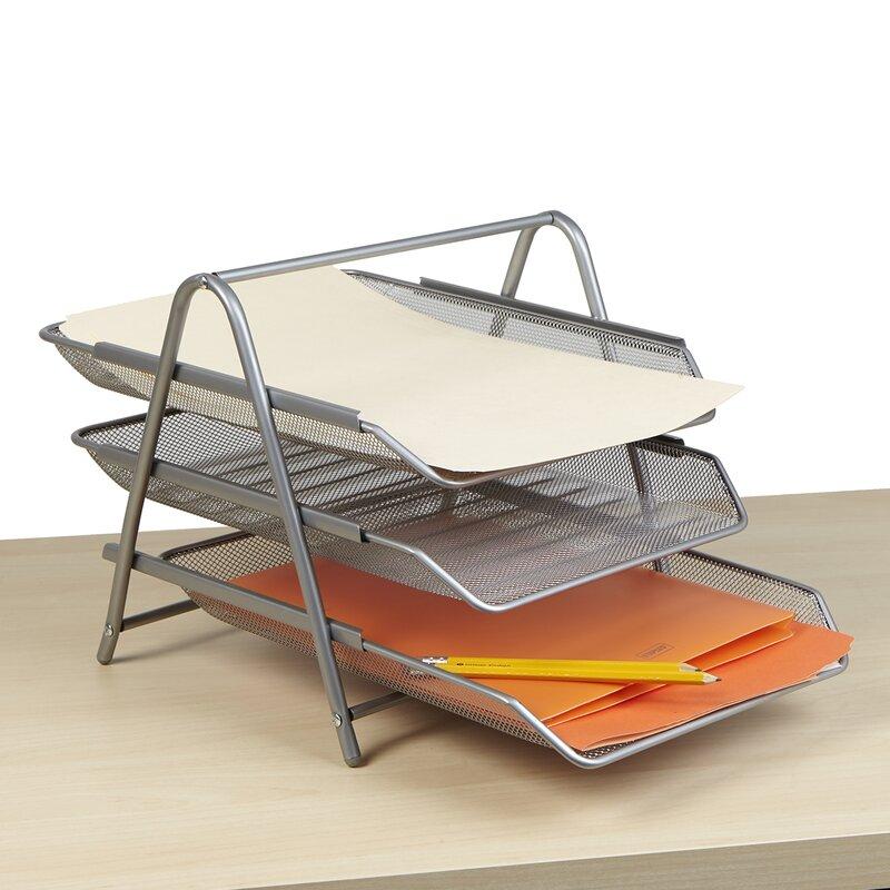 269f9afc0 Mind Reader 3 Tier Steel Mesh Paper Tray Desk Organizer & Reviews | Wayfair