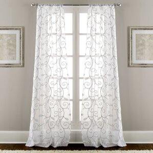 lindsey embroidered semisheer rod pocket curtain panels set of 2