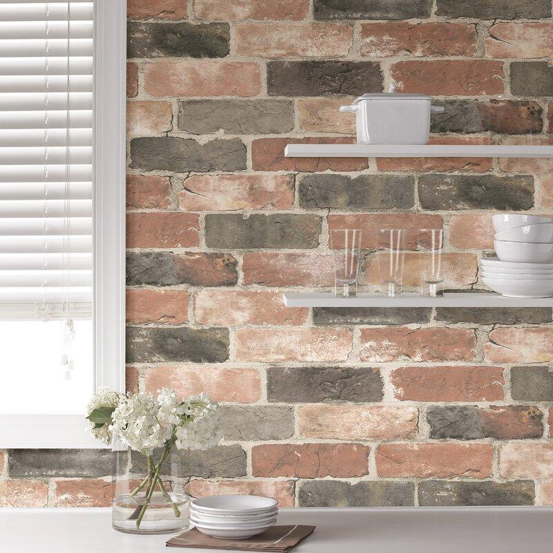 "Newport 18' x 20.5"" Brick Wood and Stone Rolls Wallpaper"