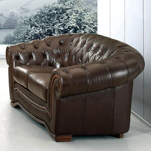 Noci Leather Chesterfield Loveseat by Noci Design
