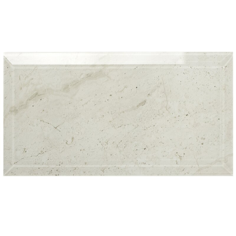 Abolos Nature 4 X 8 Beveled Glass Subway Tile In Crema Marfil