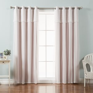Mix and Match Tulle Solid Blackout Thermal Grommet Curtain Panels (Set of 2)