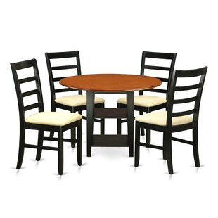 Tyshawn 5 Piece Drop Leaf Breakfast Nook Solid Wood Dining Set Best Design