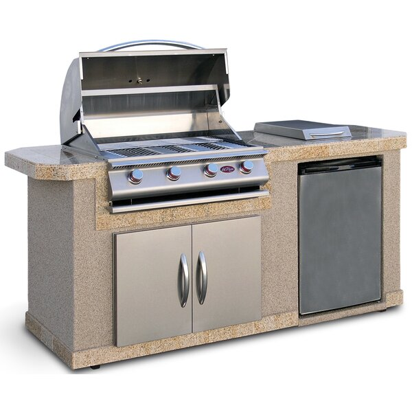 cal flame outdoor kitchen islands 4burner builtin propane gas grill with side shelves u0026 reviews wayfair - Small Gas Grills