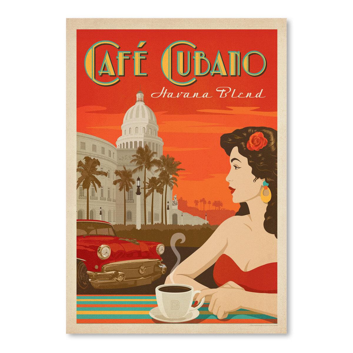 "/""Cafe Cubano/"" Havana Blend Coffee Kitchen Vintage Art Poster TIN SIGN"