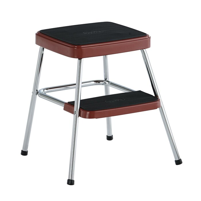 Excellent Retro 2 Steps Steel Step Stool With 225 Lb Load Capacity Gmtry Best Dining Table And Chair Ideas Images Gmtryco