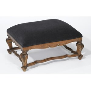 Velvet Top Ottoman by AA Importing
