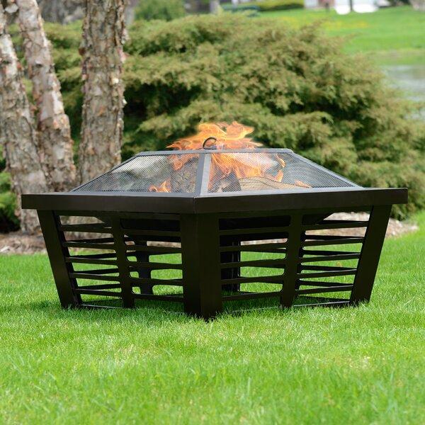 Pleasant Hearth Hudson Steel Wood Burning Fire Pit