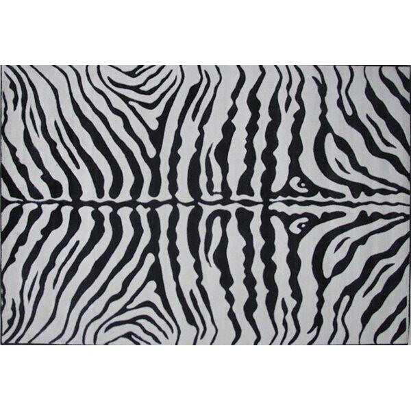 Fun Rugs Supreme Zebra Skin Machine Woven Black/White Area