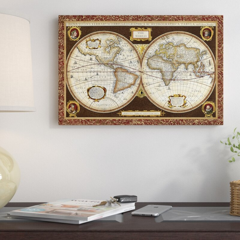 East Urban Home Decorative World Map Graphic Art Print On Wrapped
