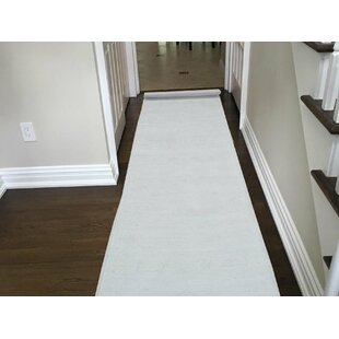 One-of-a-Kind Beaumont Hand-Knotted Runner 2'6 x 19'1 Wool White Area Rug Isabelline