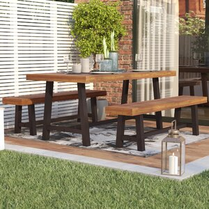 Bartlesville Rustic Metal 3 Piece Dining Set
