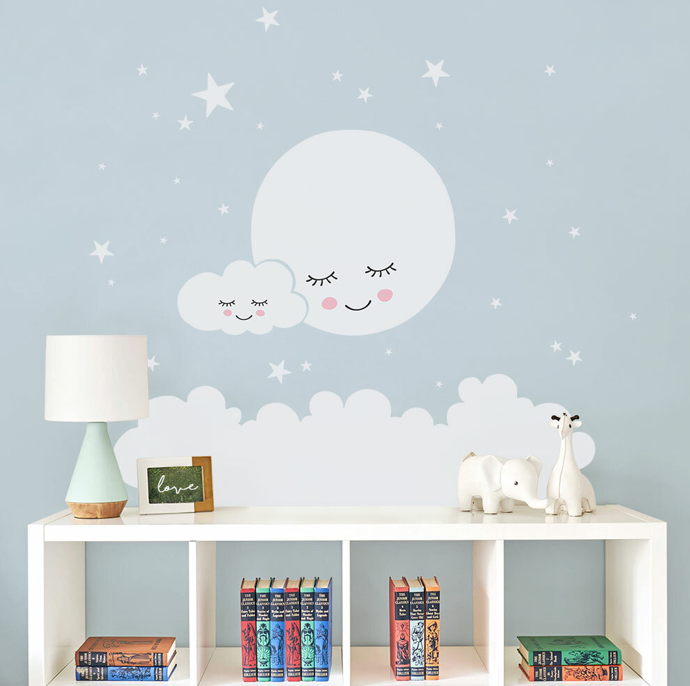 267bc940530ef Burmeister Moon Clouds and Stars Wall Decal