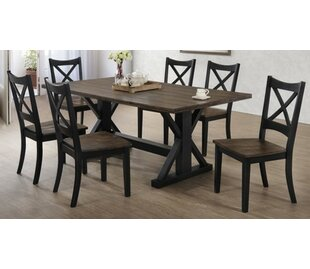 Landrum 7 Piece Solid Wood Breakfast Nook Dining Set