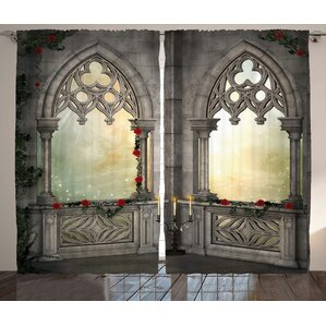 Gothic Vintage Ottoman Palace Balcony for Sultans with Red Rose Flowers Ivy  Terrace Image Graphic Print