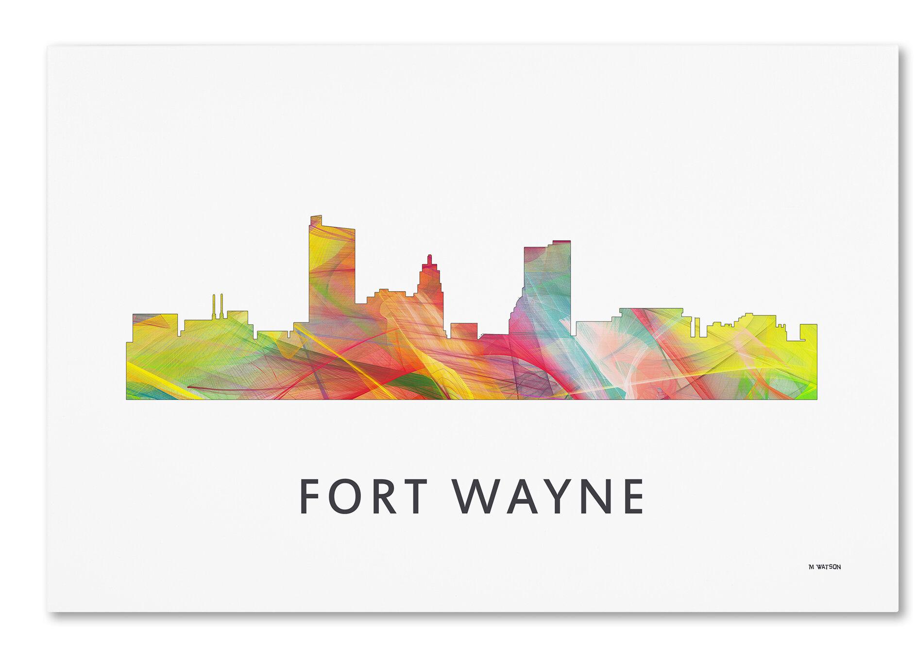 Trademark Art Fort Wayne Indiana Skyline Wb 1 Graphic