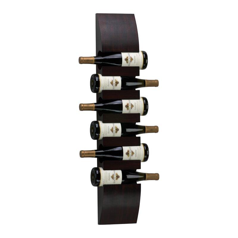 Wall Hanging Wine Rack cyan design 6 bottle wall mounted wine rack & reviews | wayfair