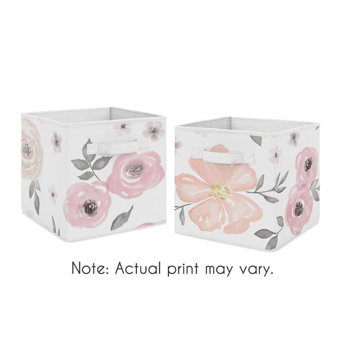 e053c73c6e01 Watercolor Floral Fabric Storage Bin