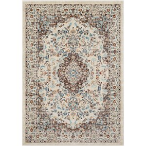 De Funiak Springs Distressed Cream/Dark Brown Area Rug