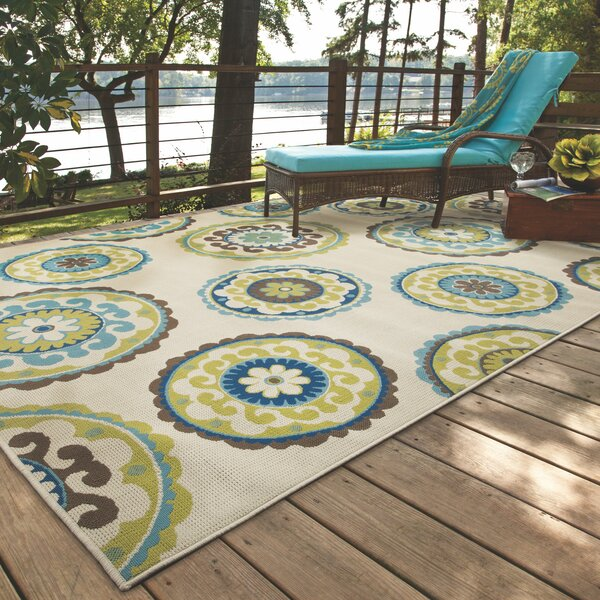 Bungalow Rose Capri Beige/Green Indoor/Outdoor Area Rug & Reviews ...